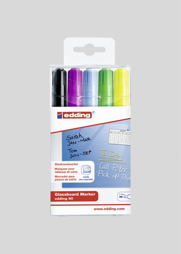 Glastavle tusch i 5 farver med 2-3 mm spids: sort, lilla, blå, grøn, gul.