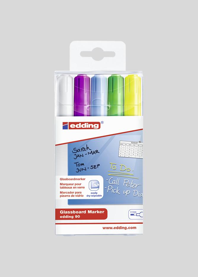 Glastavle tusch i 5 farver med 2-3 mm spids: hvid, lilla, blå, grøn, gul.