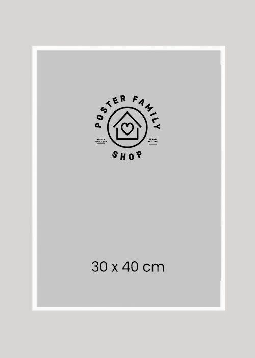 Hvid glasramme I størrelse 30x40, 50x70 eller 70x100.