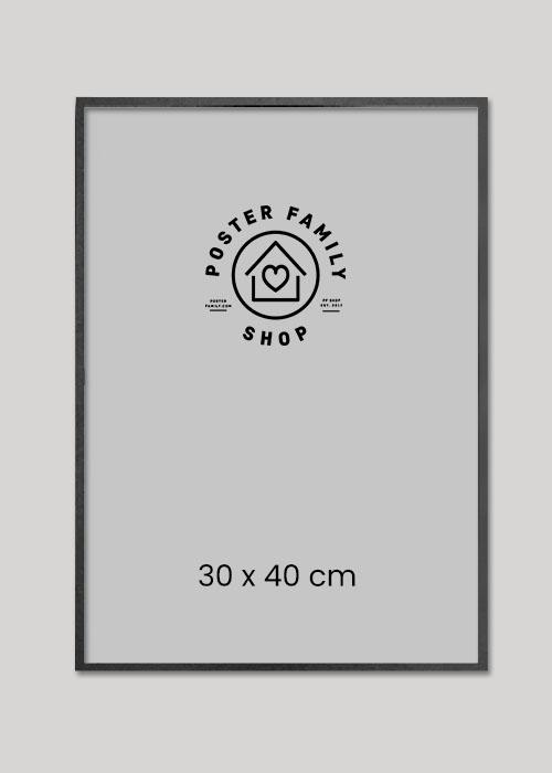 Sort glasramme I størrelse 30x40, 50x70 eller 70x100.
